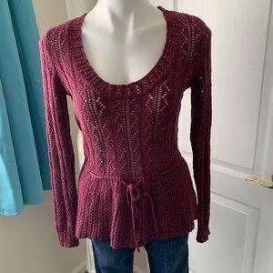 Elle burgundy tie front scoop-neck sweater